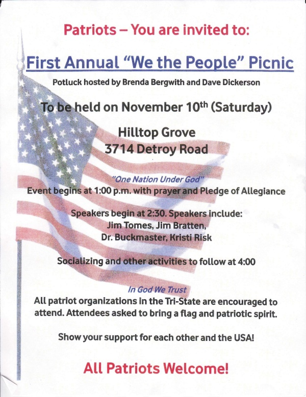 You're invited:  Patriot Picnic Saturday!