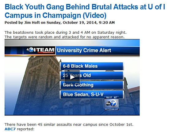 Gateway Pundit reports on UI campus attacks; 45 similar assaults since first of October