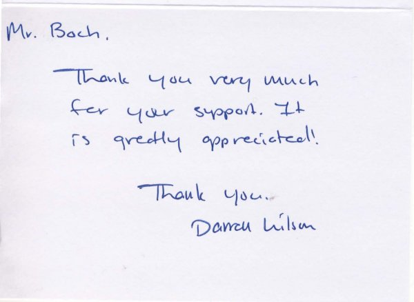YOU'RE WELCOME:  Darren Wilson sends his thanks