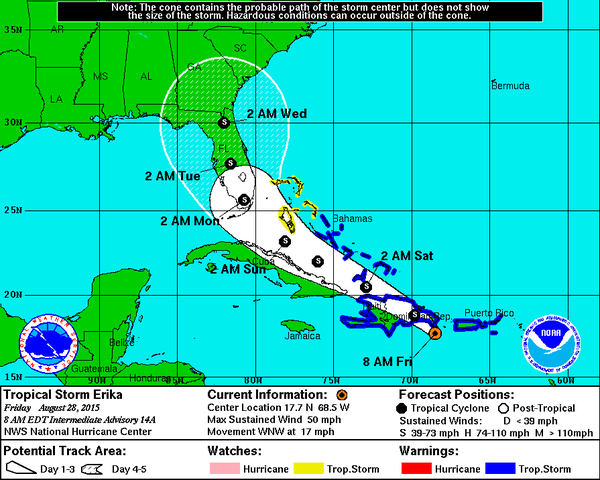 LANDFALL IMMINENT:  Florida's gonna get wet from Tropical Storm Erika
