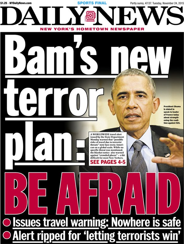BAM'S HOLIDAY PLAN:  Be afraid of terrorists, talk gun control at Thanksgiving dinner, welcome Syrian military age male 'refugees'