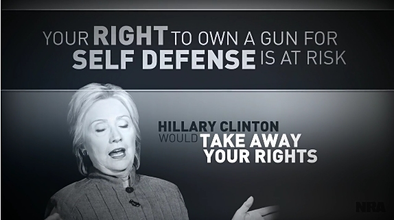 THE NRA STRIKES BACK:  A new ad spotlights Hillary's gun control plans
