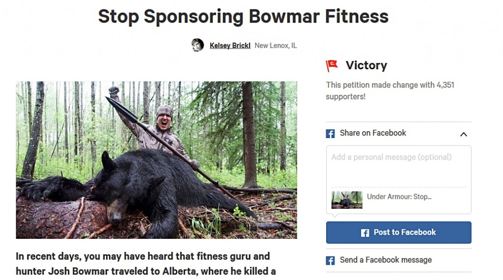 LAWSUIT THREAT #11:  Kelsey Brickl squirms after her Change.org petition gets Under Armour to dump hunters; now hunters dumping Under Armour