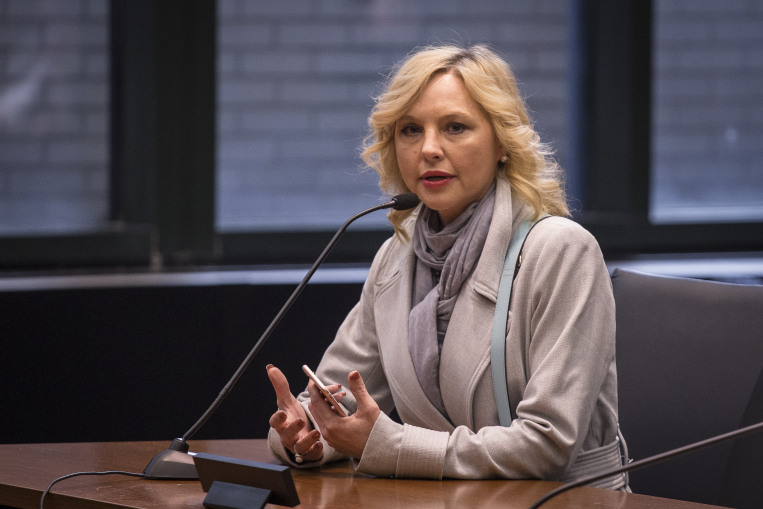 Denise Rotheimer testifies before an Illinois House committee in Chicago Tuesday on a sexual harassment bill to be introduced next week. | Rich Hein/Sun-Times
