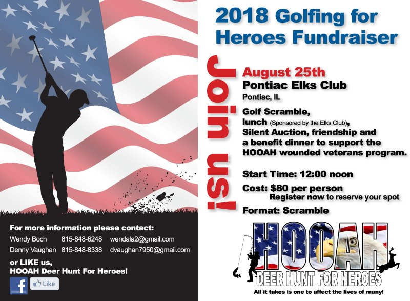 JOIN US!  HOOAH Golfing for Heroes Banquet in Pontiac:  Sat. August 25th 6pm