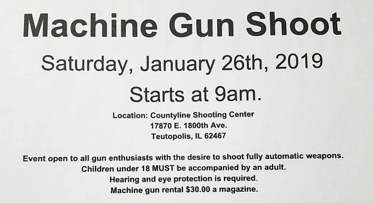 Machine Gun Shoot Saturday, Jan 26th in Teutopolis, IL